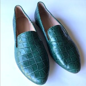 Veronica Beard Griffin Croc-Embossed Green Loafer